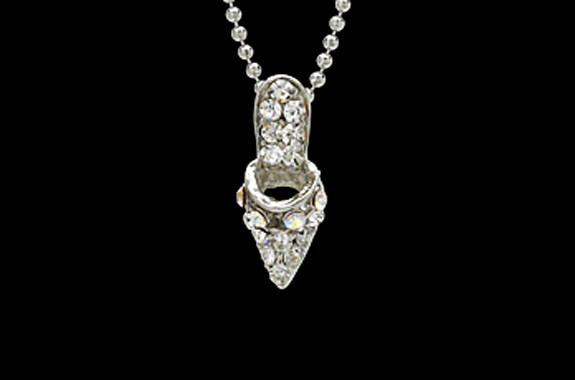Small glass slipper necklace elevated to excellence small glass slipper necklace aloadofball Gallery