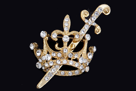 Gold Crown and Sword Pin